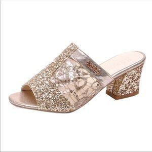 217c58f2a669 Fashion Shoes | Newgold Rhinestones Glitter Mules Square Heels ...